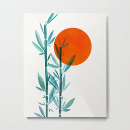 Bamboo Sunset Watercolor / Abstract Minimal Landscape Metal Print