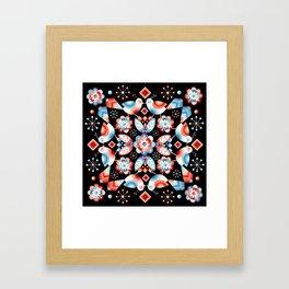 Folkloric Ombre Lovebirds Framed Art Print