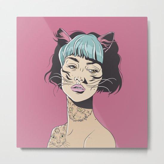 CAT GIRL Metal Print