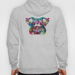Colorful Pig Art - Squeal Appeal - By Sharon Cummings Hoody