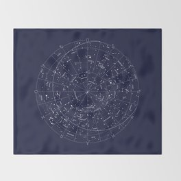 Constellation Map Indigo Throw Blanket