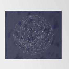 Constellation Map Indigo Throw Blanket