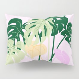 monstera plant on pink background Pillow Sham