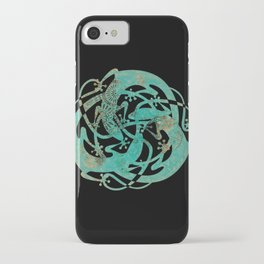 Lizards Mandala - Turquoise gold iPhone Case