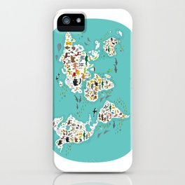 Cartoon animal world map for children and kids, Animals from all over the world iPhone Case