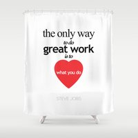 steve jobs Shower Curtains featuring Quote by Steve jobs by Abhikreationz