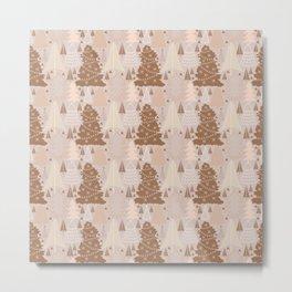 Christmas Trees in Neutral Color Tones Metal Print