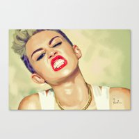 miley cyrus Canvas Prints featuring Miley Cyrus by Nicolaine