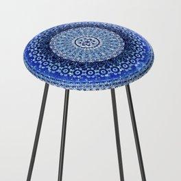 Cobalt Tapestry Mandala Counter Stool