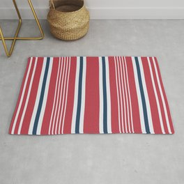 Classic red nautical mixed stripes pattern Rug