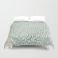 bee Duvet Covers featuring Berry Branches – Turquoise & Gold by Cat Coquillette