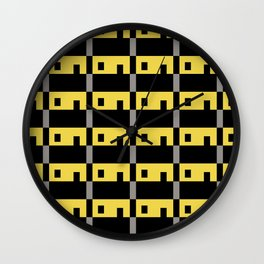Row House Pattern Yellow Wall Clock