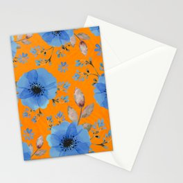 Blue flowers with orange Stationery Cards