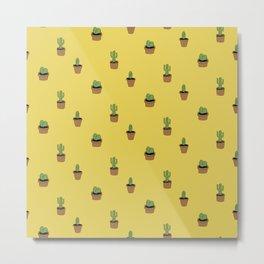 Cacti on yellow Metal Print