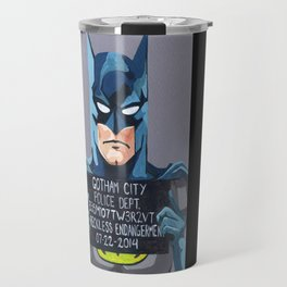Bat Man Superhero Mug Shot Travel Mug