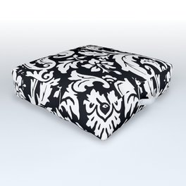 Damask Paisley Black and White Paisley Pattern Vintage Outdoor Floor Cushion