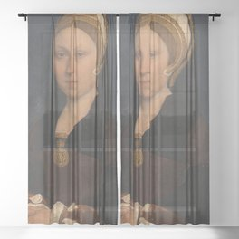 Vintage portrait of a lady in period costume Sheer Curtain