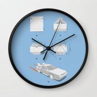 delorean Wall Clocks featuring Origami DeLorean by 6amcrisis