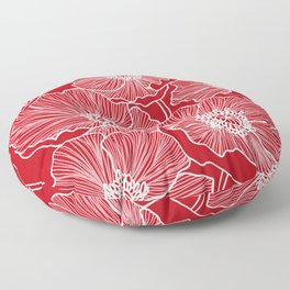 Holly Berry Red Poppies Drawing Floor Pillow