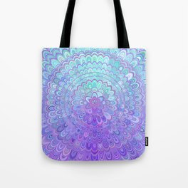 Mandala Flower in Light Blue and Purple Tote Bag