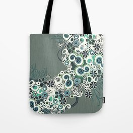 Diagonal flower – blue and green fiber Tote Bag