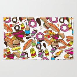 Cartoon Junk food pattern. Rug