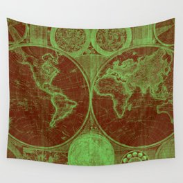 World Map (1794) Red & Light Green Wall Tapestry
