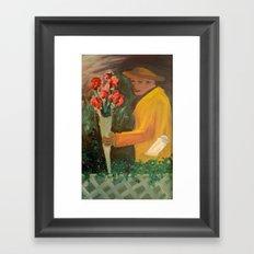 Man with flowers  Framed Art Print