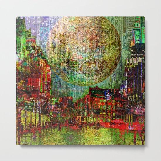 Moon on the city Metal Print