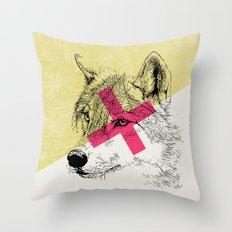 Techno Wolf Throw Pillow