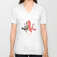 marble V-neck T-shirts featuring marble octo by Okti