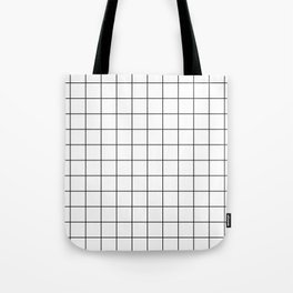 Grid Simple Line White Minimalist Tote Bag