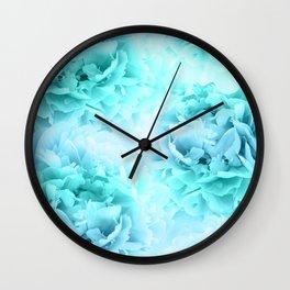 Aqua Blue Ocean Peonies Dream #1 #floral #decor #art #society6 Wall Clock
