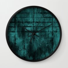 Turquoise Lined Rusted Metal Look Wall Clock