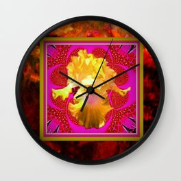 Yellow Iris in Burnt Umber-Red-Fuchsia Frame Wall Clock