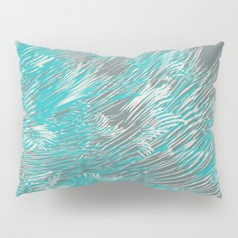 feathered lines in teal Pillow Sham