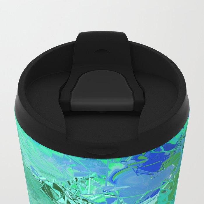 Blue Green Fractured Paint Swirls Metal Travel Mug
