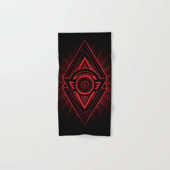 The Eye of Providence is watching you! (Diabolic red Freemason / Illuminati  symbolic) Hand & Bath Towel