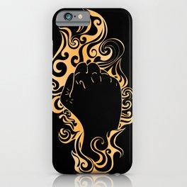Raised fist in golden fire iPhone Case