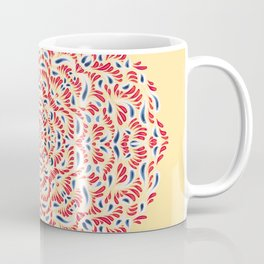 Yellow Red and Blue Eastern European Mandala Flower - Abstract Geometric Symmetry Floral Boho Rosetta Art Coffee Mug