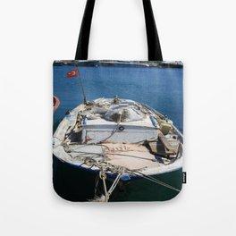 Moored Fishing Boat Tote Bag