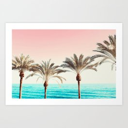 Modern California Vibes pink sky blue seascape tropical palm tree beach photography Art Print