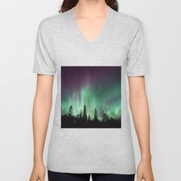 Colorful Northern Lights, Aurora Borealis Unisex V-Neck