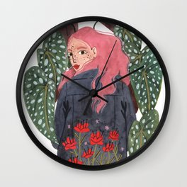 Holding plant Wall Clock