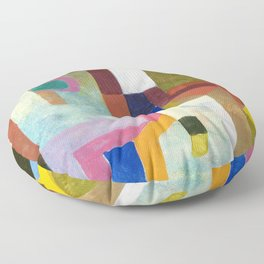 Paul Klee - Digital Remastered Edition - Colorful Architecture Floor Pillow