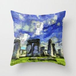 Stonehenge Vincent Van Gogh Throw Pillow