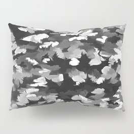 Foliage Abstract Pop Art In Monotone Black and White Pillow Sham