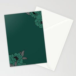 Teal peony blossom Stationery Cards