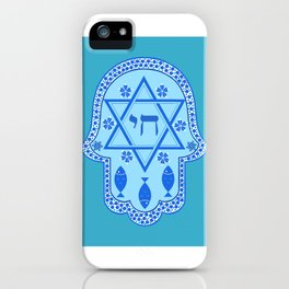 Hamsa for blessings, protection and strength - Turquoise iPhone Case