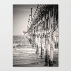 Fishing Pier Surf City Beach Topsail Island NC Sepia Black & White Canvas Print